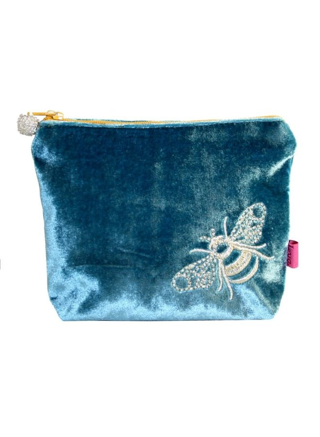 Bee Velvet Embroidered Purse Turquoise 508