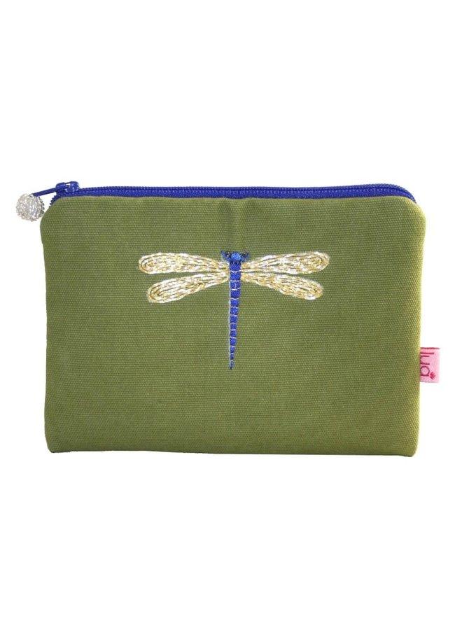 Libelle bestickte Geldbörse Olive 509