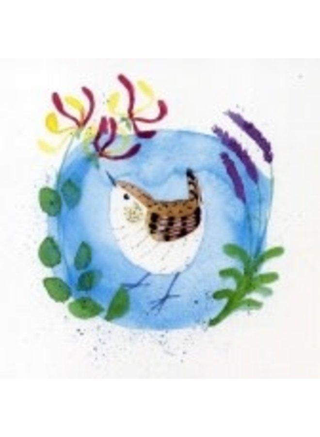 Honeysuckle & Wren by Julia Crimmen 140x140mm card