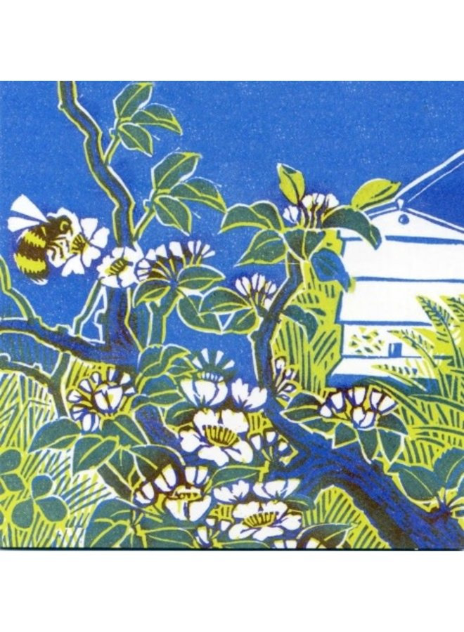 Bee & Blossom by Clare Melinsky 140 x 140mm card