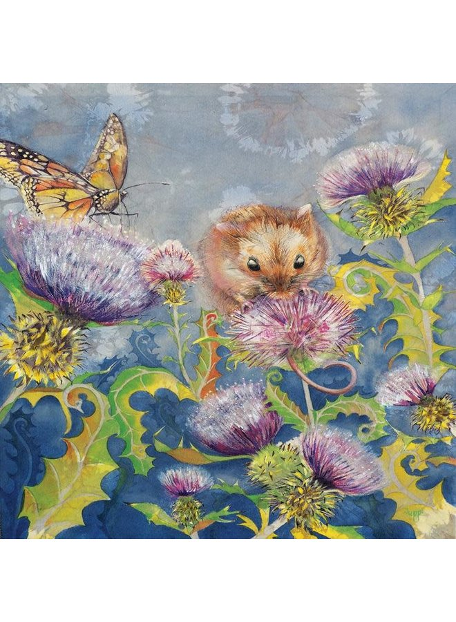 Field Mouse on Thistle square card 25