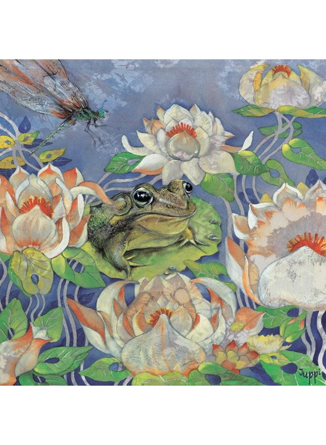 Frog in Lily Pond square card 26