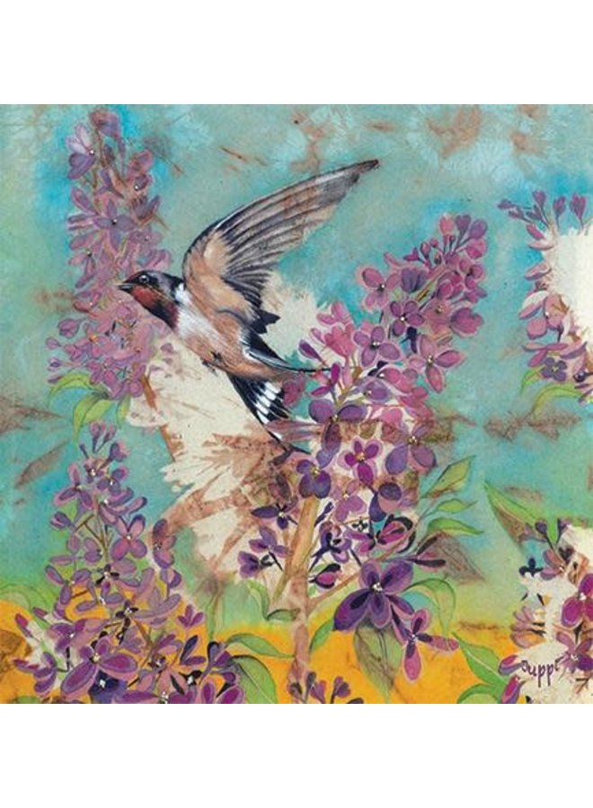 Lilac with Swallow square card 35
