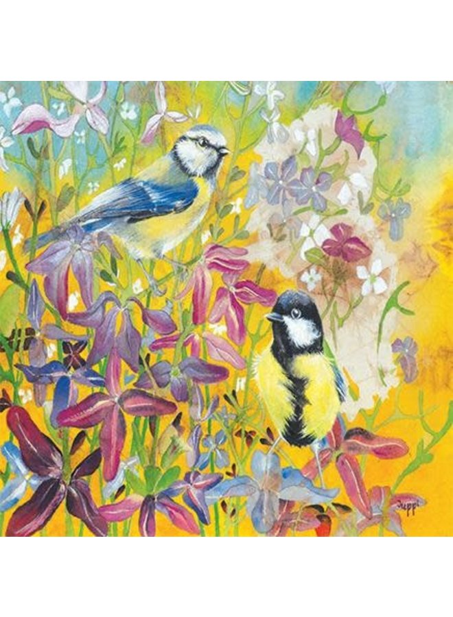 Night-scented Stock with Birds  square card 36