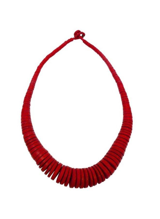 Red Graduierte Coco Disc Halskette 061