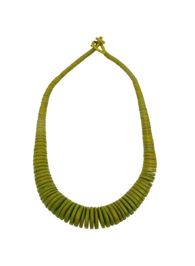 Lime Green Graduierte Coco Disc Halskette 071