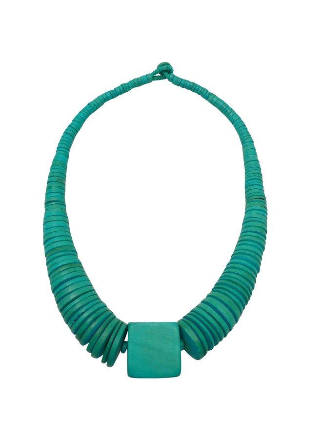 Türkisblau abgestufte Halskette aus Kokosnuss und Holz 080