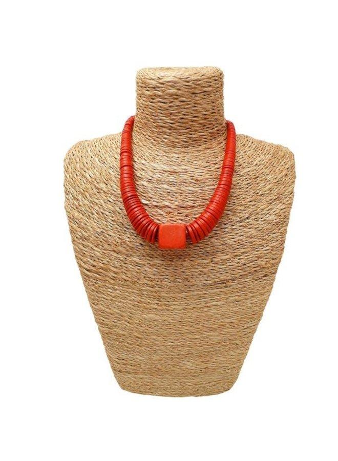 Orange abgestufte Kokosnuss- und Holzhalskette 081