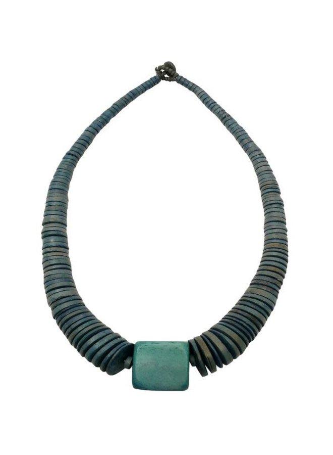 Denim Blue Coconut und Wood Halskette 082