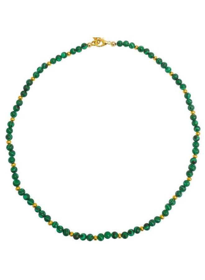 Malachitgrün und Gold Befunde Halskette 084
