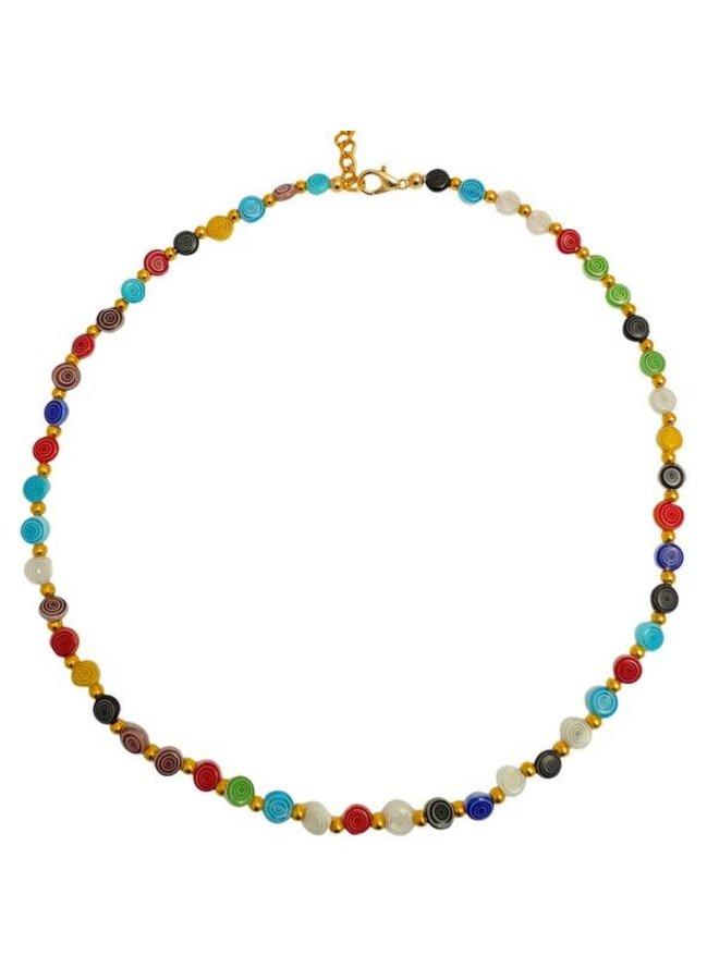 Regenbogen Sprial und Gold Halskette 085