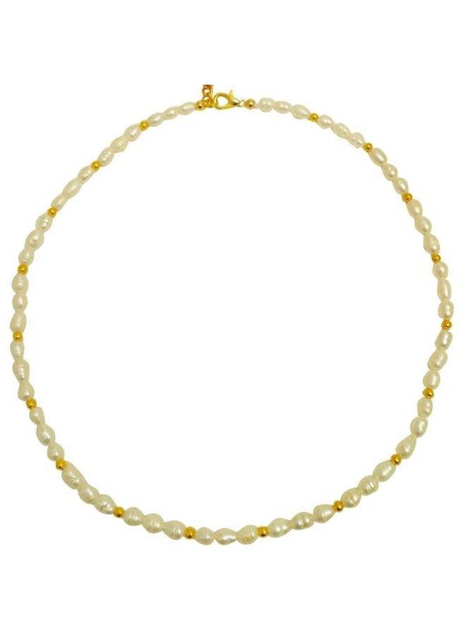 Weiße Perle und Gold Halskette 086