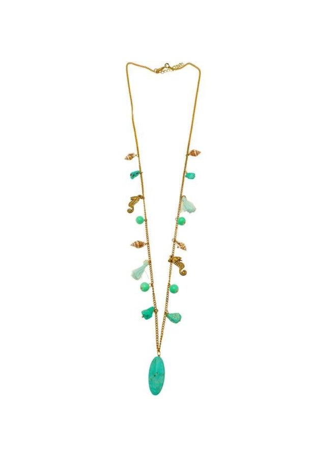 Charm Stone und Shell Halskette 89
