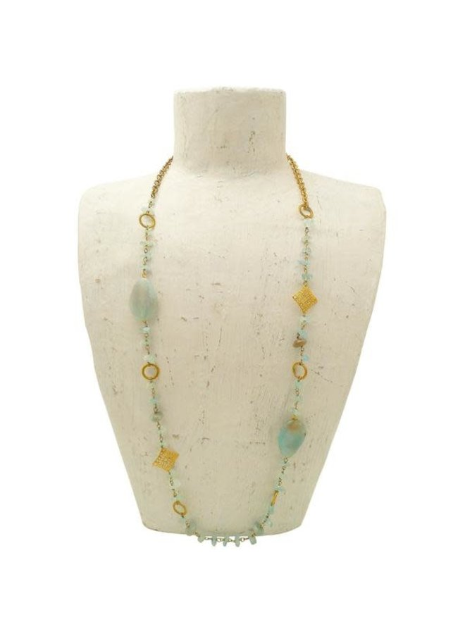 Amazonite lange Halskette 90