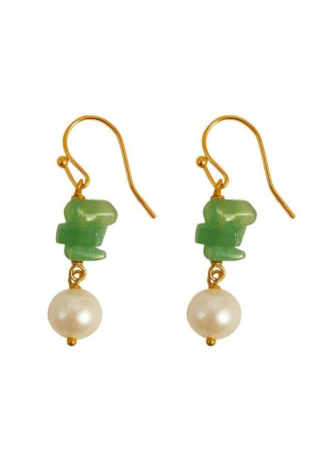 Grüne Adventurine und Perlenohrringe 94