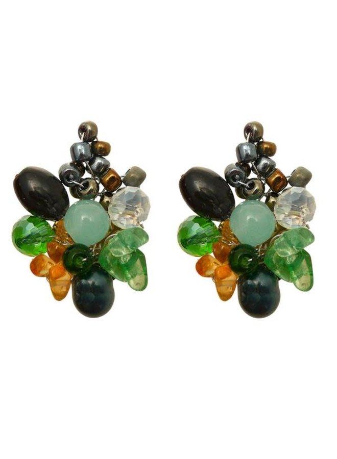 Glasperlen- und Perlenclip-Ohrringe 95