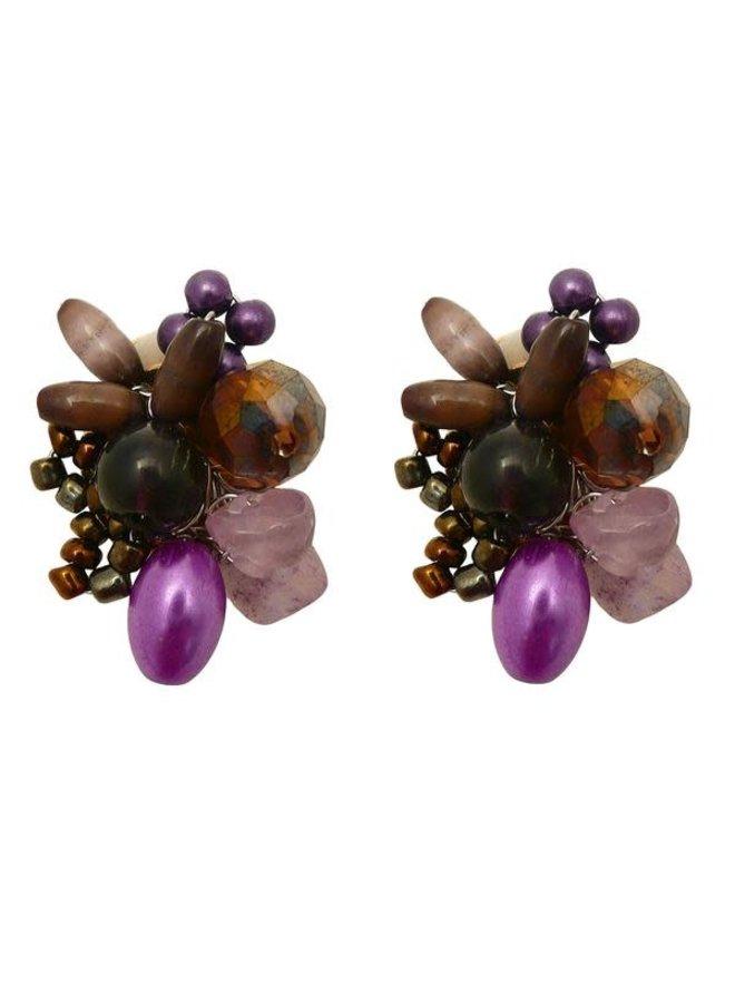 Lila Glasperlen und Perlenclip Ohrringe 96