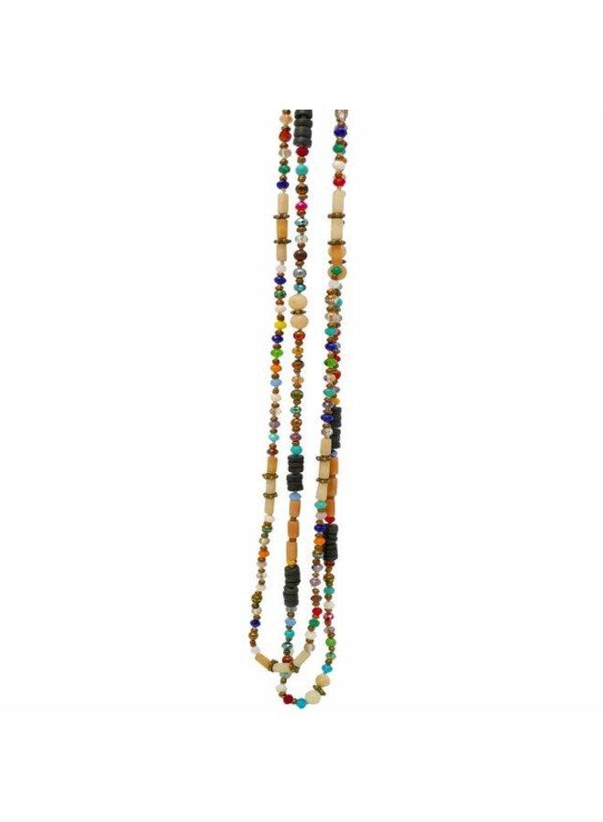 Mixed Crystal Bead Rohr Buri Nuss Lange Halskette 070