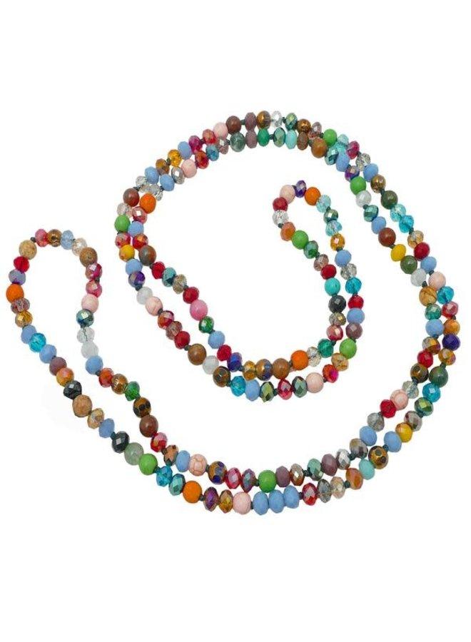 Regenbogen gemischte Kristallperle lange Halskette 068