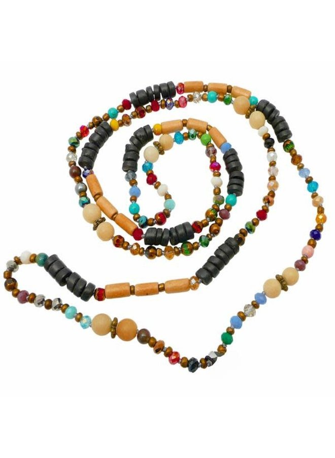Mixed Crystal Bead round buri nut Long Necklace  069