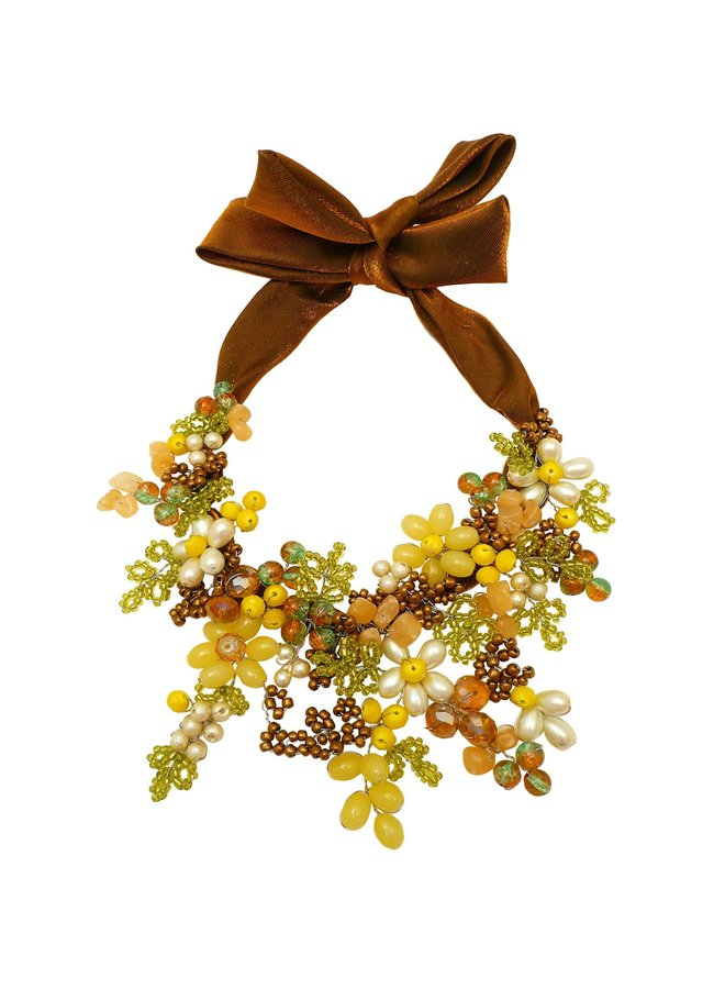 Grüne und gelbe Satin-Krawattenkette 074