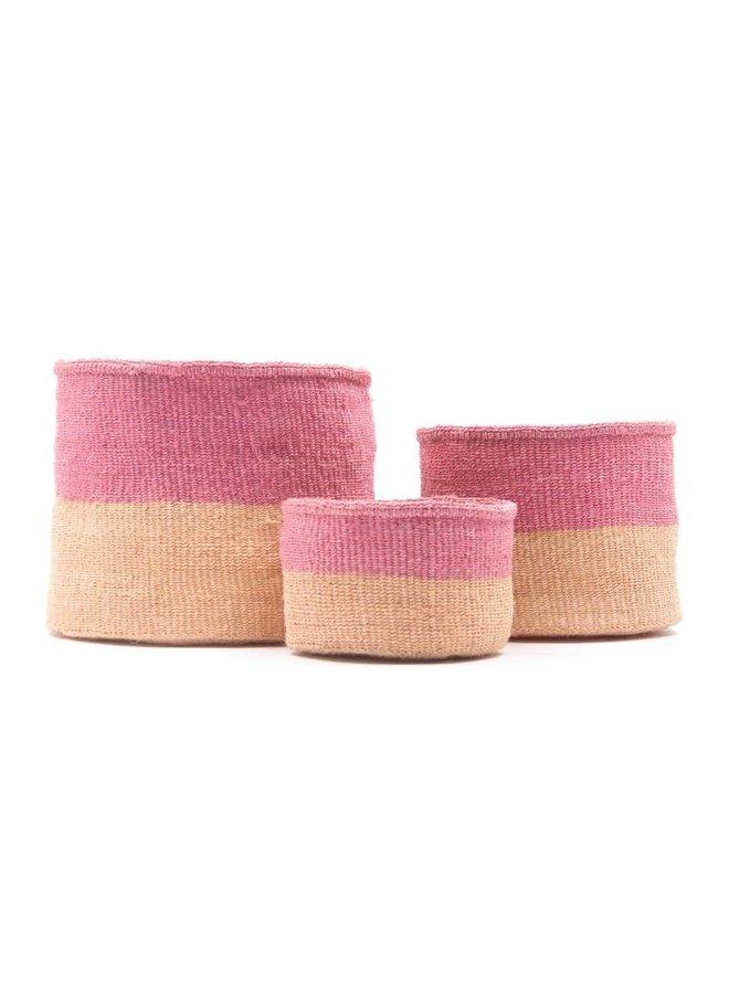 Keti Sand und Dusty Pink Sisal xsmall Korb 36