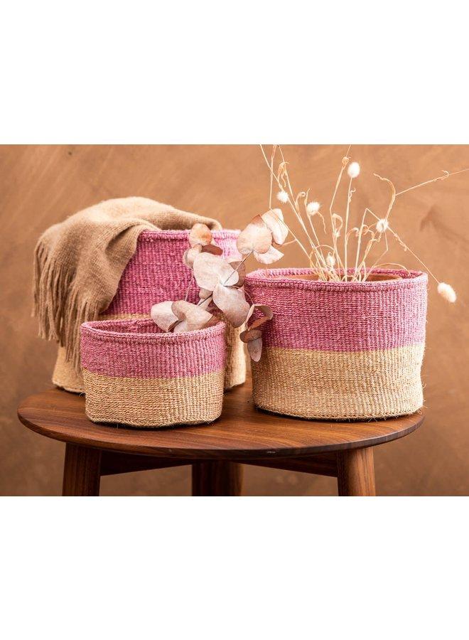 Keti Sand und Dusty Pink Sisal mittlerer Korb 38