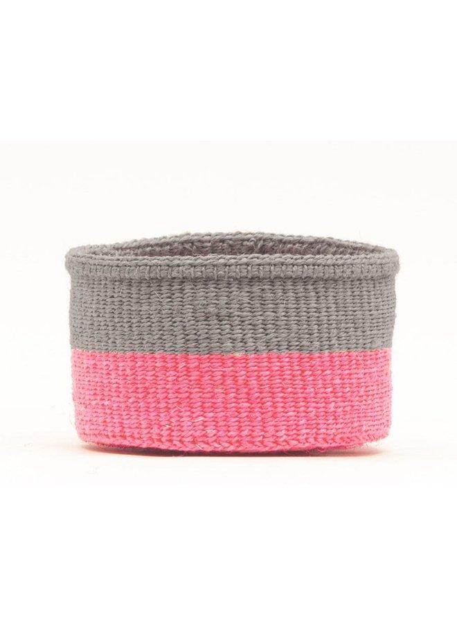 Maliza Pink und Grey Sisal mittlerer Korb 4i