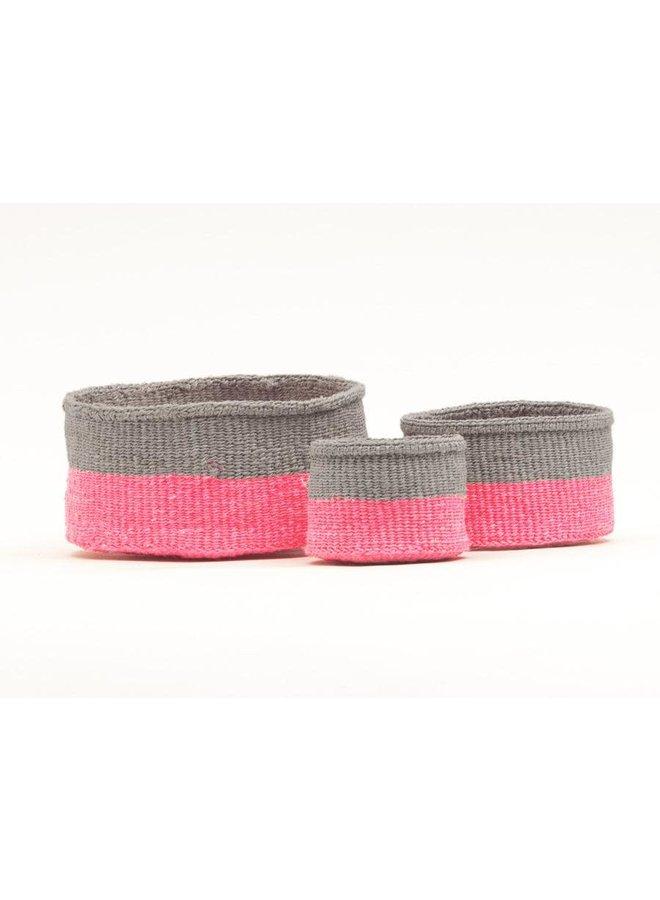 Maliza Pink and Grey  Sisal xtra small basket 43