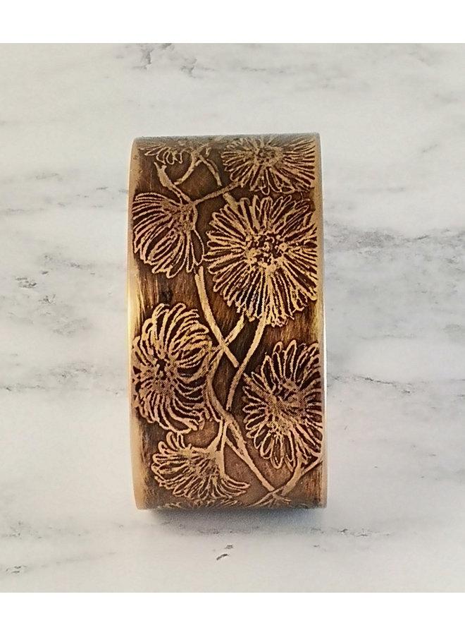 Sonnenblumen dunkelkupfer geätzte Manschette 93
