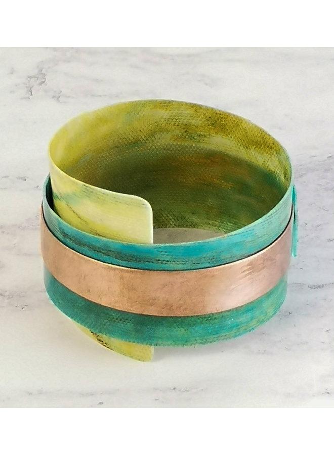 Smaragdblauer verstellbarer Armreif recycelt - Kupfer und Kunststoff 98