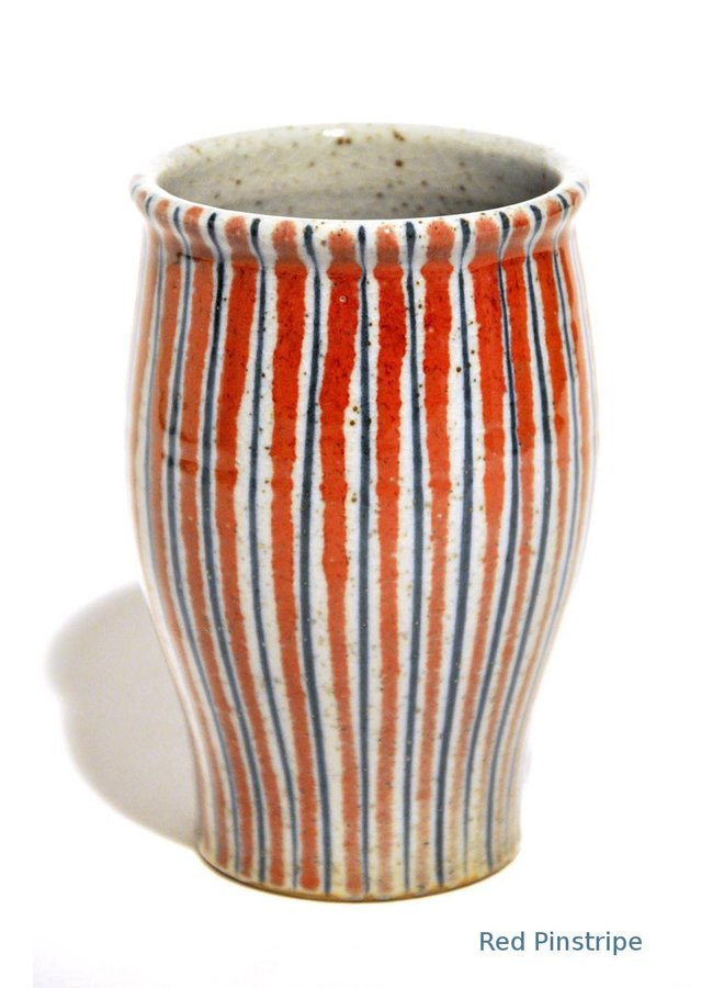 Red Pinstripe  Vase 12cm medium 33