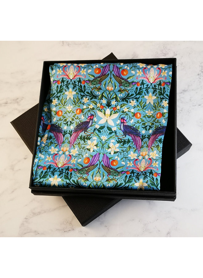 Forbiden Orchard Satin and Silk Scarf  with magnetic clasp Boxed