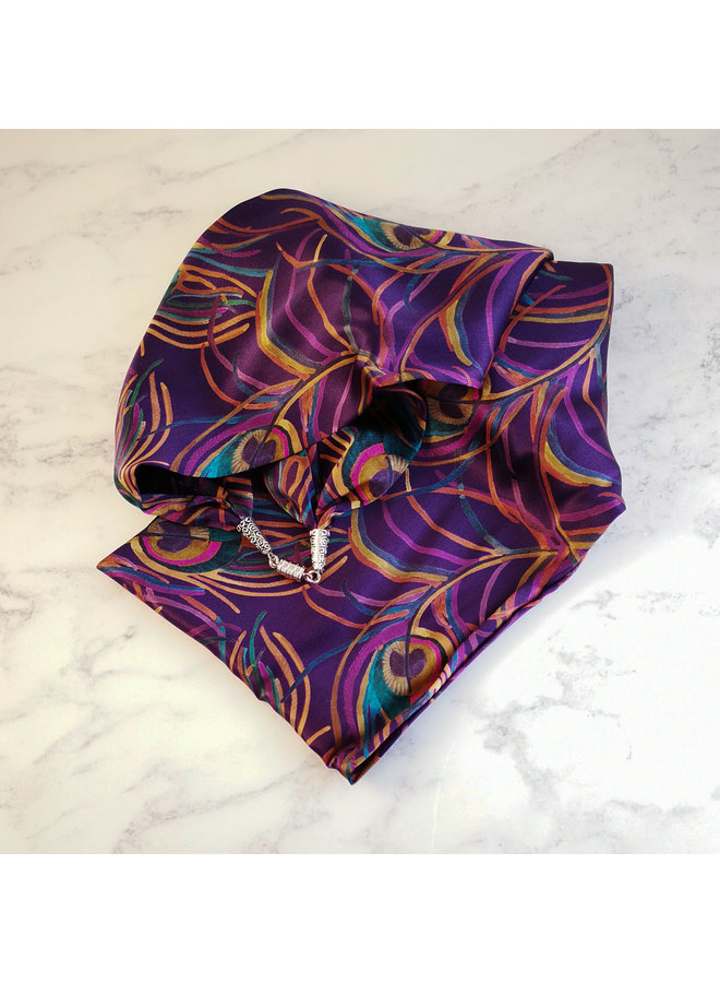 Isadora Satin and Silk Scarf  with magnetic clasp Boxed