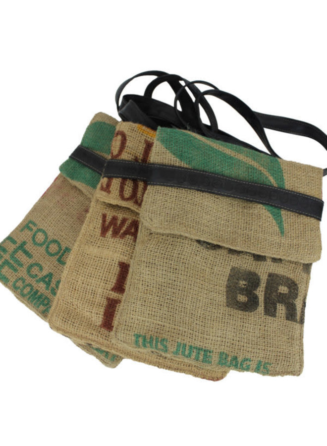 Recylced Coffee Sack & Inner Tube Crossover Bag Large
