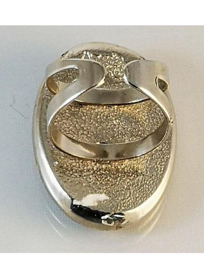 Ovaler verstellbarer Ring mit blauen Blumen 17