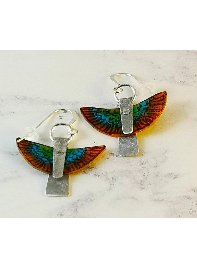 Orange Parot in flight  recylced metals  and plastic  drop earrings 106