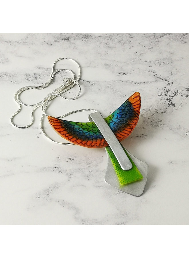 Orange Parot in flight  recylced metals  and plastic pendant 103