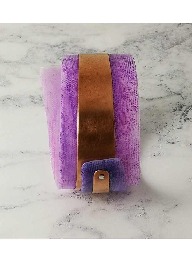 Purple  adjustable Bangle recylced copper and plastic 102