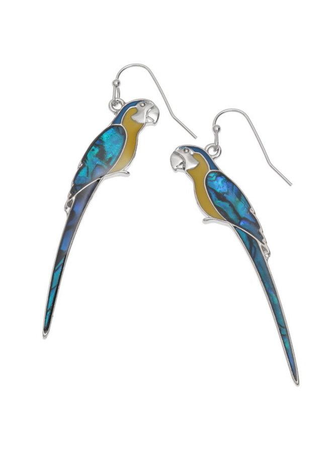 Macaw Yellow  Inlaid Puau shell drop earrings 639