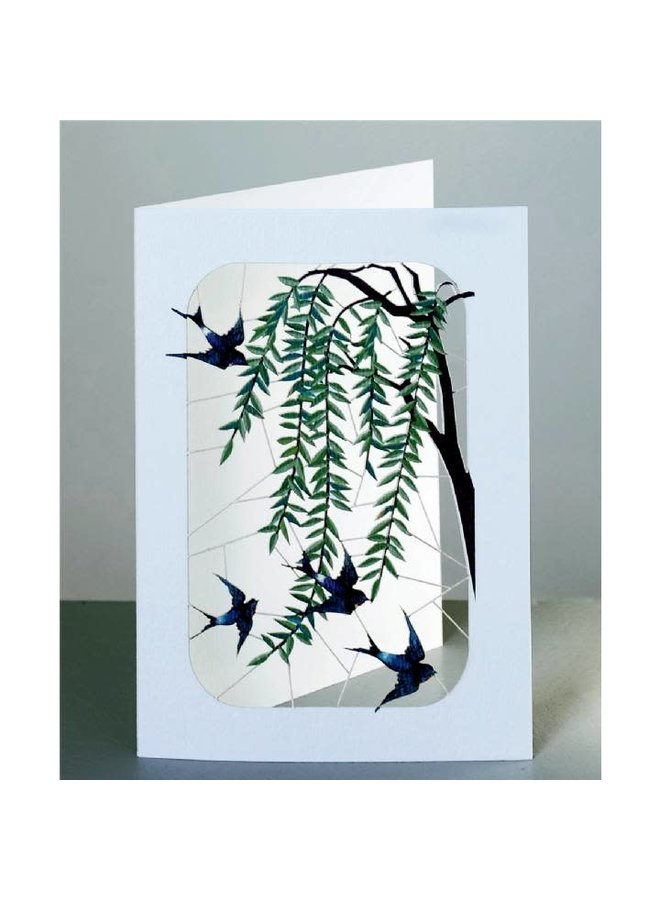 Swallows and Willow  Laser cut card
