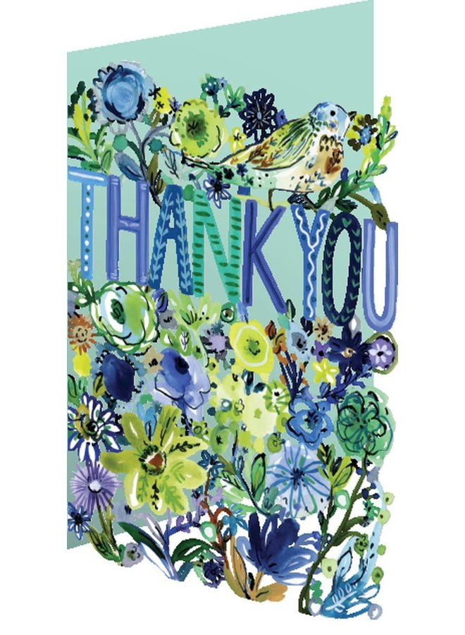 Thank You Floral Laser Card