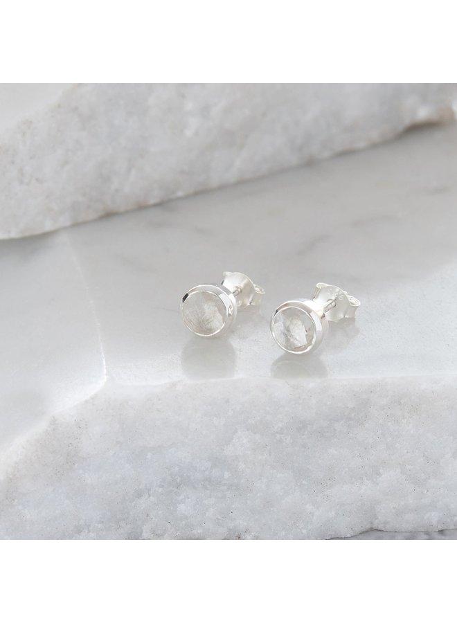 Kleine Ohrstecker aus Bergkristall und Sterlingsilber 81