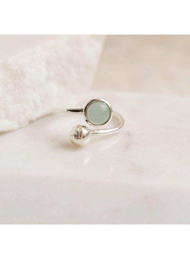 Verstellbarer Ring in Aqua und Silber 87