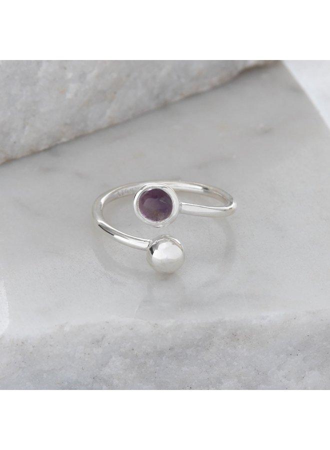 Verstellbarer Ring aus Amethyst und Silber 88