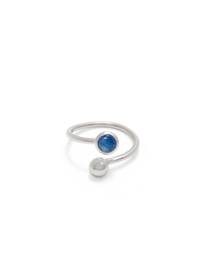 Verstellbarer Ring aus Saphir und Silber 93