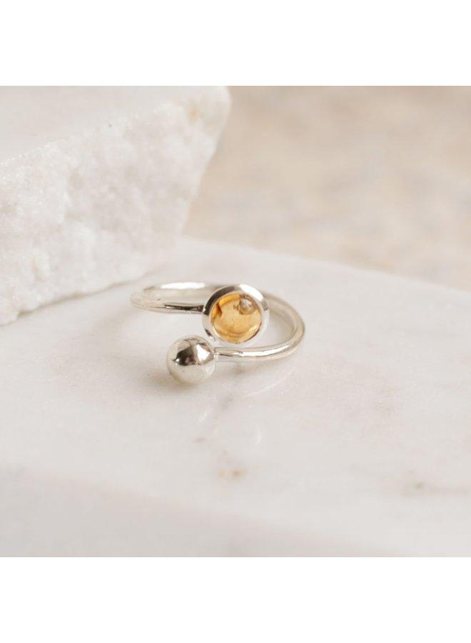 Verstellbarer Ring aus Citrin und Silber 94