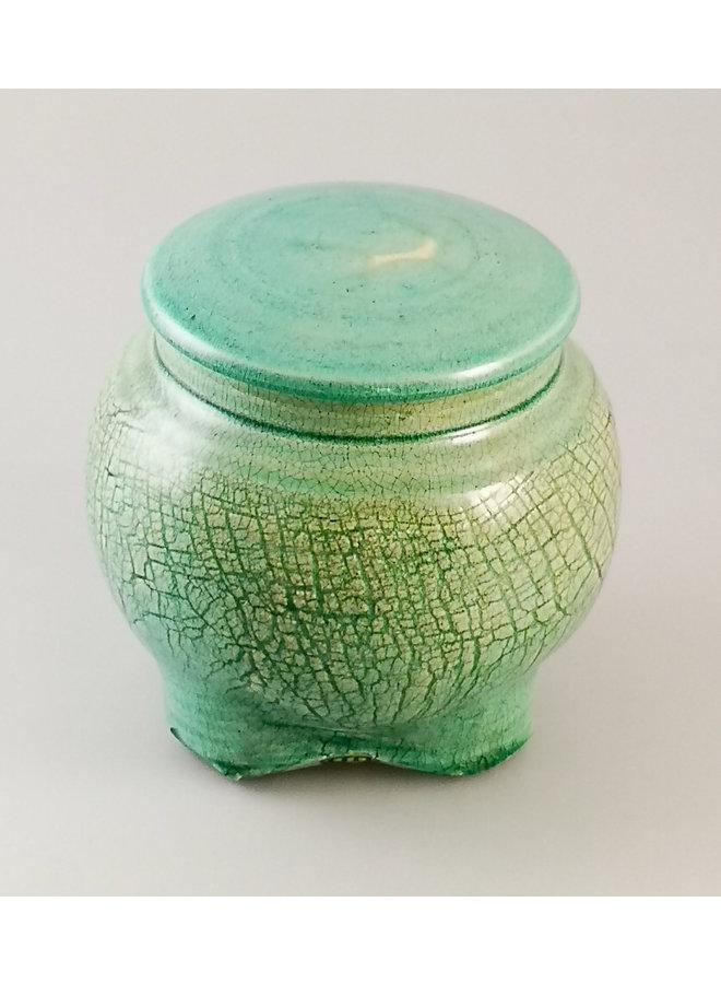 Türkisfarbenes Deckelglas mit Fuß Small 29
