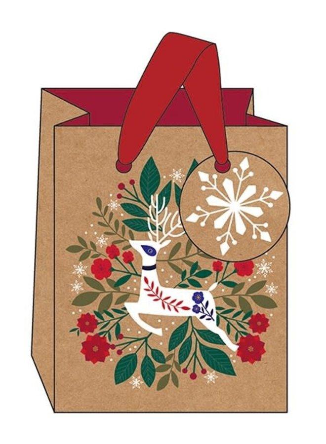 Rentier - kleine Geschenktüte mit Bändern und Anhänger