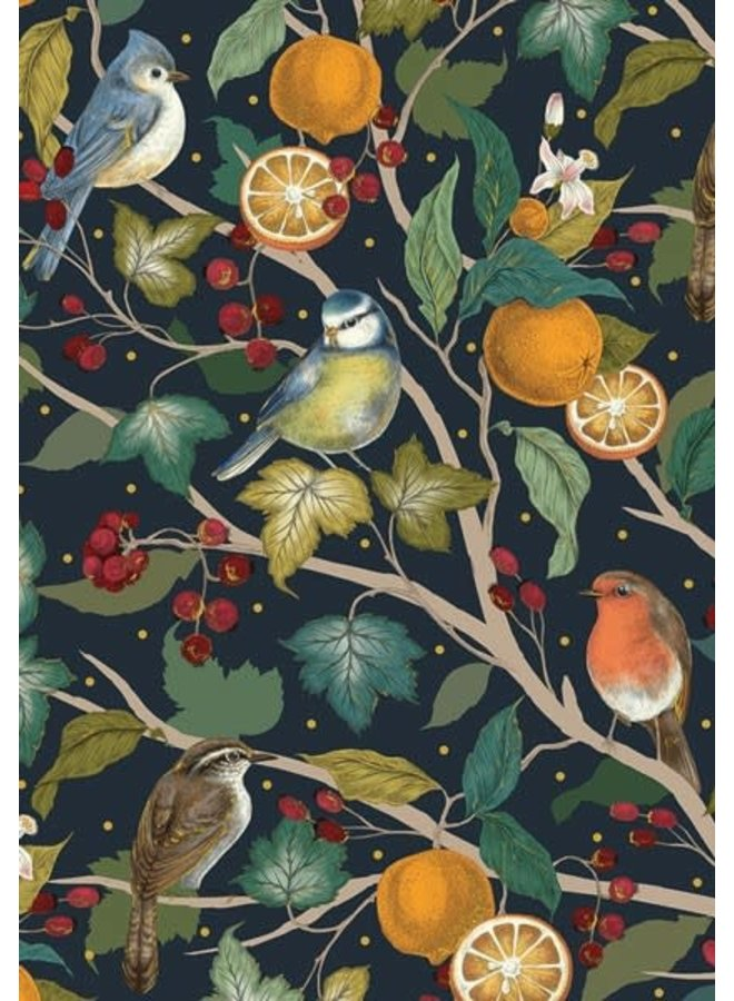 Weihnachtskarte mit Vögeln und Orangen